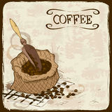 Illustration with coffee beans, bag and scoop Stock Images