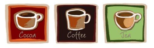 Illustration of Coffee, Cocoa & Tea mugs Royalty Free Stock Photo