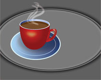Illustration of coffee cup. Illustration of Coffee red cup steaming on plate vector illustration