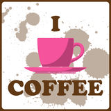 Illustration of coffee-cup and text. Royalty Free Stock Images