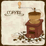 Illustration with coffee grinder Royalty Free Stock Photography