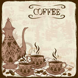 Illustration with coffee pot and cups Royalty Free Stock Images