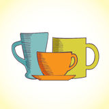 Illustration of coffee and tea mugs Stock Photo