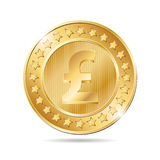 illustration of a coin with pound sign Royalty Free Stock Photos