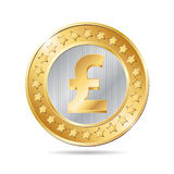 illustration of a coin with pound sign Royalty Free Stock Photo