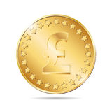 illustration of a coin with pound sign Royalty Free Stock Images
