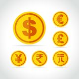 Coins icons on white background. Illustration of coins icons on white background Royalty Free Stock Photography