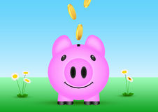 Illustration of coins thrown in piggy bank  outside in nature. Concept of saving money Stock Images