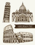 Illustration of Coliseum, Tower of Pisa, St. Peter's Basilica Royalty Free Stock Photo