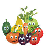 Illustration Collection of Animated Fruits and Vegetables. Tomatoes, Peppers, Pumpkin, Eggplant,  Carrot, Banana and Apple Characters with Facial Expressions Royalty Free Stock Images