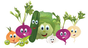 Illustration Collection of Animated Vegetables Royalty Free Stock Photography