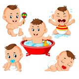 The collection of the baby boy doing the activities with different expression. Illustration of the collection of the baby boy doing the activities with different vector illustration