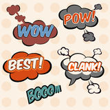Illustration, collection cloud-speech in pop-art style elements of design comic books Royalty Free Stock Photos