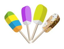 An illustration Set of Various Flavored Ice. An Illustration Collection Colorful of Four Tasty Frozen Popsicles, Isolated on White Background Stock Image