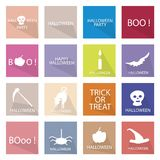 Illustration Collection of 16 Happy Halloween Icons. Holidays And Celebrations, Illustration Set of 16 Happy Halloween Icons for Halloween Celebration Royalty Free Stock Photos
