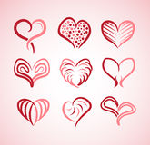 Illustration collection of hearts with different styles Stock Images