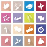 Illustration Collection of 16 Merry Christmas Icons Royalty Free Stock Photography