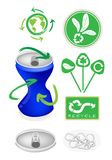 Soda Can with Recycle Symbol for Save The World Stock Photos