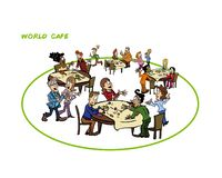Illustration of collective intelligence process called world cafe royalty free illustration