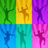 Dancing male silhouettes. Illustration of coloful dancing male silhouettes in various poses Stock Photography