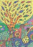 Illustration colorée avec le paysage surréaliste - arbre, fleur et illustration stock