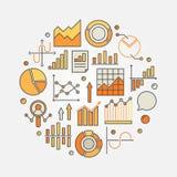Illustration colorée d'analyse de statistiques et de données illustration stock