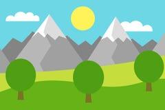 Illustration colorée de bande dessinée d'un paysage de montagne avec un champ et des arbres sous un ciel bleu avec des nuages Photographie stock
