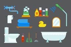 Illustration colorée de clipart (images graphiques) de style plat de douche d'icônes d'équipement de Bath pour la conception de v Photographie stock libre de droits