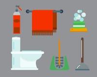 Illustration colorée de clipart (images graphiques) de style plat de douche d'icônes d'équipement de Bath pour la conception de v Image libre de droits
