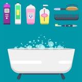 Illustration colorée de douche moderne d'icônes d'équipement de Bath pour la conception intérieure de vecteur d'hygiène de salle  Photo libre de droits