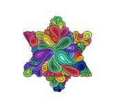 Illustration colorée de hexagram de style de griffonnage Croquis coloré de hexagram de zentangle Croquis de tatouage de Hexagram  illustration stock