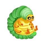 Illustration colorée de larve mignonne de bande dessinée Image Dorky et dr?le illustration de vecteur