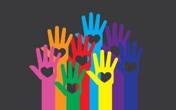Illustration colorée de mains Photo stock