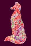 Illustration colorée de renard d'ensemble abstrait de griffonnage illustration stock