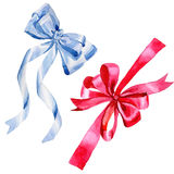Illustration colorée de salutation d'arc de ruban de vacances d'aquarelle illustration stock