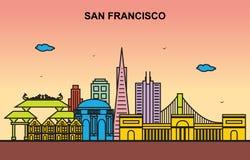 Illustration colorée de San Francisco City Tour Cityscape Skyline illustration libre de droits