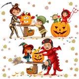 Illustration colorée de vecteur d'ensemble de famille de Halloween La mère et le père avec des enfants se sont habillés dans des  illustration libre de droits
