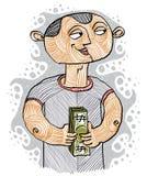 Illustration colorée de vecteur d'un banquier, une personne tenant un petit pain illustration libre de droits