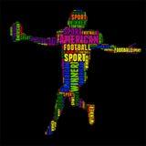 Illustration colorée de vecteur de nuage de mot de typographie de football américain Photos libres de droits
