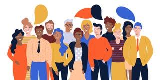 Illustration colorée de vecteur en portrait plat de groupe de style de bande dessinée des employés de bureau ou des commis de sou illustration de vecteur