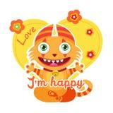 Illustration colorée de vecteur Lucky Cartoon Mascot Thème drôle pour la conception de T-shirt d'enfants Photo libre de droits