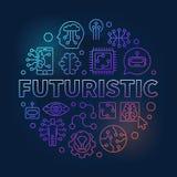 Illustration colorée de vecteur rond futuriste dans la ligne style mince illustration de vecteur