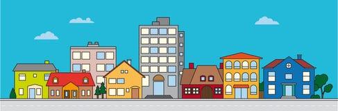 Illustration colorée de vecteur de voisinage de petite ville illustration de vecteur