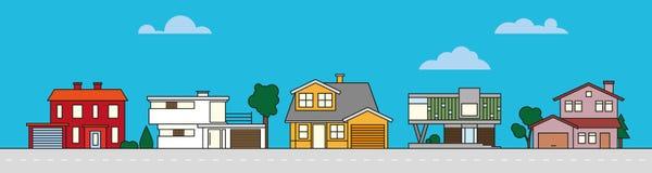 Illustration colorée de vecteur de voisinage de village illustration de vecteur