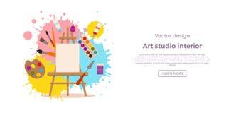 Illustration colorée intérieure de vecteur de conception de studio d'art Images stock