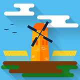 Illustration colorée lumineuse avec le moulin à vent et le blé de bande dessinée dans le style plat à la mode avec de longues omb Image libre de droits