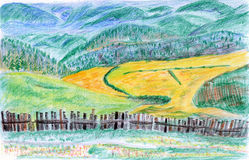 Illustration-Color fields. Pastoral scenery , the color of the world , the fall of the mountain Stock Images