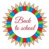 Illustration of a color pencils circular frame. Royalty Free Stock Photos
