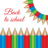 Illustration of a color pencils frame. Back to school concept Stock Photography