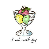 Illustration. Colored balls of ice cream with mint in the dish. Royalty Free Stock Photos